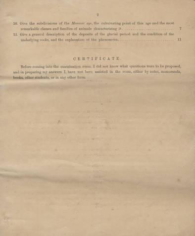 University of South Carolina. Examination in Geology, —June, 1869. Professor Joseph LeConte 2